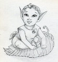 Fairy elf baby tale boy or girl as small as a leaf has long pointy ears and curly hair pencil drawing sketch Royalty Free Stock Photography