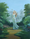 Fairy in an enchanted garden art oil Royalty Free Stock Photo
