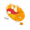 Fairy of fire cute little one the four elements vector Royalty Free Stock Photo
