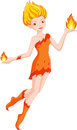 Fairy fire element girl character with elements of in flight Stock Photography