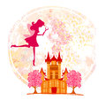 Fairy flying above castle abstract background Stock Photos