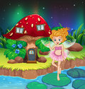 A fairy flying beside a mushroom house illustration of Stock Photography