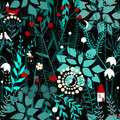 Fairy forest background. Floral seamless pattern with doodle plants, birds, firefly, fox, and house.