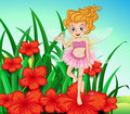 A fairy at the garden with red flowers illustration of Royalty Free Stock Photography