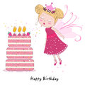 Fairy girl blowing out candles with happy birthday cake greeting card Stock Photos