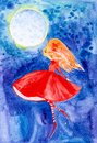A fairy girl with red hair and a red dress with her eyes closed hovers over the blue night sky against the full moon. Watercolor