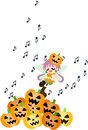 A fairy of the halloween is singing a song in among many jack o lanterns Royalty Free Stock Photography