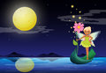 A fairy holding a flower above a boat illustration of Royalty Free Stock Photo
