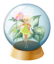 A fairy holding a flower inside the crystal ball illustration of on white background Royalty Free Stock Images