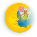 A fairy holding a flower and a sleeping moon illustration of on white background Stock Photo