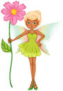 A fairy holding a fresh pink flower illustration of on white background Royalty Free Stock Photos