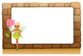 A fairy holding a giant flower beside an empty blankboard on a w illustration of wall white background Stock Photo