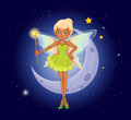 A fairy holding a wand in front of the crescent illustration Royalty Free Stock Images