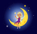 A fairy holding a wand sitting at the moon illustration of Stock Photography