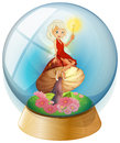 A fairy inside a crystal ball illustration of on white background Royalty Free Stock Photo