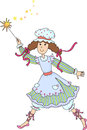 Fairy with a magic wand in cap and apron Royalty Free Stock Images