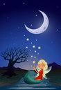 A fairy in the middle of the night illustration Royalty Free Stock Photo