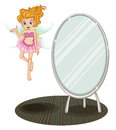A fairy beside a mirror illustration of on white background Royalty Free Stock Photos