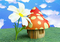 Fairy Mushroom Cottage with Flower Royalty Free Stock Photo