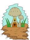 Fairy Mushroom House in Nature Cartoon