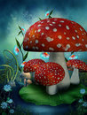 Fairy mushrooms and flowers Royalty Free Stock Photography
