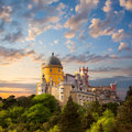 Fairy Palace against beautiful sky / Panorama of National Pala Royalty Free Stock Photo