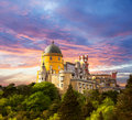 Fairy Palace against sunset sky / Panorama of Palace in Sintra, Royalty Free Stock Photo