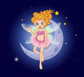 A fairy with a pink dress near the moon illustration of Stock Photo