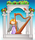 Fairy playing harp in heaven Royalty Free Stock Photo