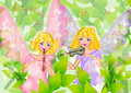 Fairy playing music in the jungle illustrations Stock Images