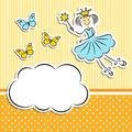 Fairy princess with butterflies paper cloud and Stock Photo