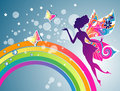 Fairy rainbow blowing bubbles vector illustration Royalty Free Stock Photography