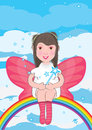 Fairy Sit At Rainbow Stars Around_eps Royalty Free Stock Photos