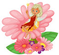 A fairy sitting on a pink flower illustration of white background Royalty Free Stock Images
