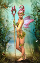 Fairy with staff d computer graphics of a cute a magic and butterfly wings Stock Images
