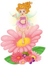 A fairy standing above the flower illustration of on white background Royalty Free Stock Photos