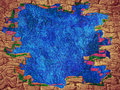 Fairy tale abstract background with blue space and brick frame b border digitally generated image Royalty Free Stock Photo