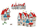 Fairy-tale сartoon medieval houses