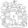 Fairy tale castle and flowers. Coloring page