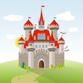Fairy-tale Castle. Vector Imagination Child Illustration Royalty Free Stock Photo