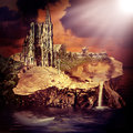 Fairy tale fantasy castle and village on the stump in the water at sunset Royalty Free Stock Image