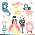 Fairy-tale heroes set. A magical story with a princess, a prince, a fairy, a dragon, a unicorn, etc. Vector illustration of cute