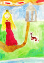 Fairy tale kid's drawing Royalty Free Stock Photos