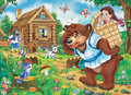 Fairy tale masha and the bear illustration for the old east european folklore Stock Photography