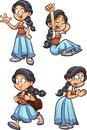 Fairy tale medieval peasant girl with different expressions. Vector clip art illustration with simple gradients.
