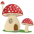 Fairy tale mushroom house cartoon isolated on white background Royalty Free Stock Photos