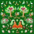 Fairy tale pattern for children. Print for fabric. Greeting card with cute cartoon characters.