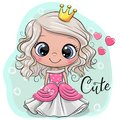 Fairy tale Princess on a blue background Royalty Free Stock Photo