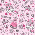 Fairy Tale Princess Seamless Pattern Sketchy Doodl Royalty Free Stock Images