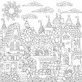 Zentangle fairy tale town Royalty Free Stock Photo